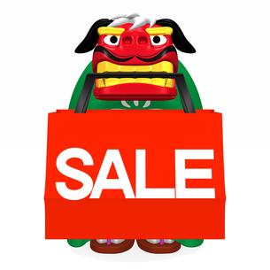 SALEショッピングバッグをくわえている獅子舞 正面図の写真素材 [FYI00281874]