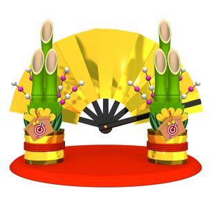 門松と金の扇子の写真素材 [FYI00281879]