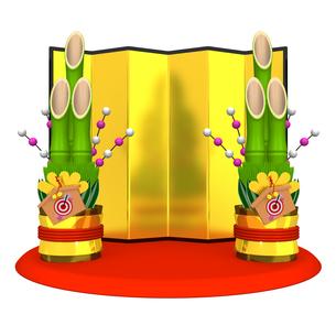 大きい門松と金屏風 正面図の写真素材 [FYI00281880]