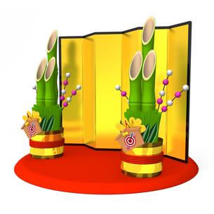 大きな門松と金屏風の写真素材 [FYI00281883]