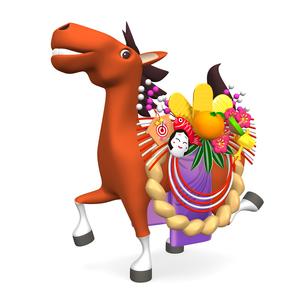 正月飾りをつけた陽気な馬の写真素材 [FYI00281889]