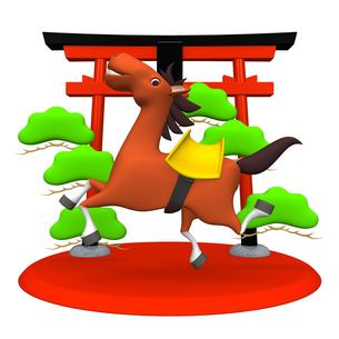 陽気な馬と鳥居の写真素材 [FYI00281890]