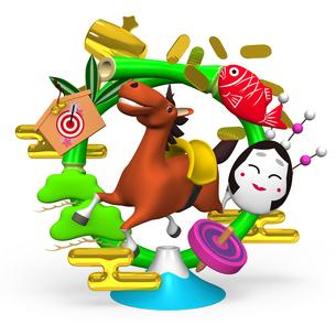 陽気な馬とお正月用竹リース飾りの写真素材 [FYI00281896]