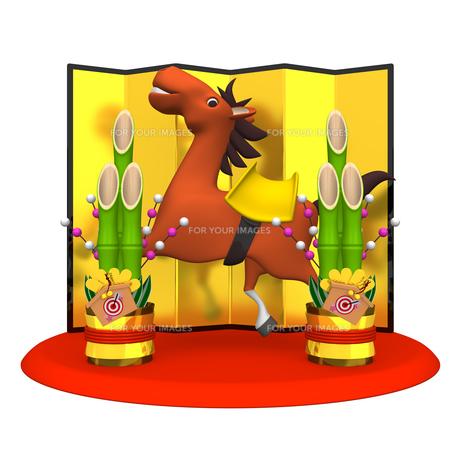 陽気な馬と門松の写真素材 [FYI00281901]