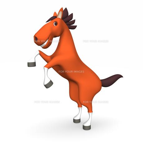 2本足で立ち上がる陽気な馬の素材 [FYI00281905]
