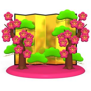 梅の木と金屏風の写真素材 [FYI00281906]