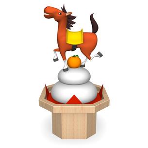 鏡餅の上に立つ陽気な馬の写真素材 [FYI00281912]