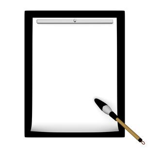 筆と半紙 上面図の写真素材 [FYI00281916]