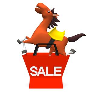 ショッピングバッグから飛び出す馬 正面図の写真素材 [FYI00281920]