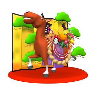 金屏風の前に立つ正月飾りをつけた馬の写真素材 [FYI00281921]