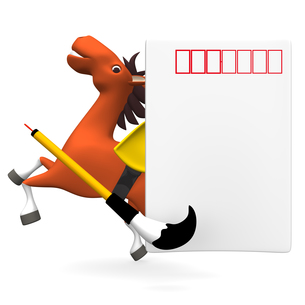 大きなはがきと陽気な馬の写真素材 [FYI00281929]
