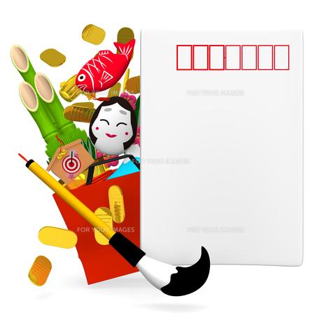 年賀状と福袋に入ったお正月飾りの写真素材 [FYI00281930]