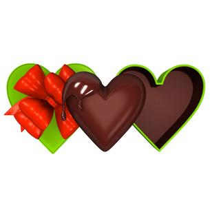 ハート型のチョコレートと緑のギフトボックスの写真素材 [FYI00281933]