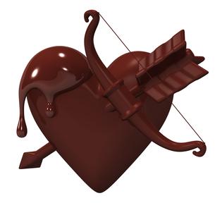 弓矢と溶けたハート型チョコレートの写真素材 [FYI00281935]