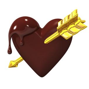 金の矢が刺さったハート型チョコレートの写真素材 [FYI00281939]