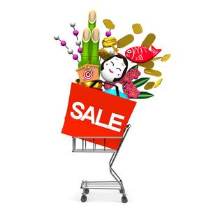 お正月飾りとショッピングカートの写真素材 [FYI00281940]