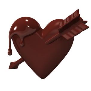 矢が刺さったハート型チョコレートの写真素材 [FYI00281944]