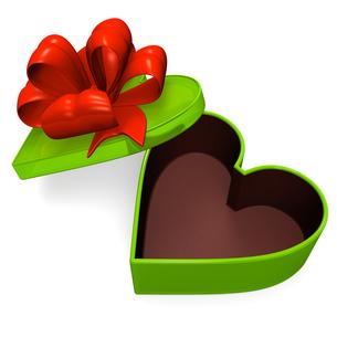 ハート型の緑のギフトボックスの写真素材 [FYI00281947]