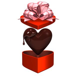 ハート型チョコレートとギフトボックスの写真素材 [FYI00281948]