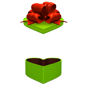 緑のギフトボックス 正面図の写真素材 [FYI00281949]