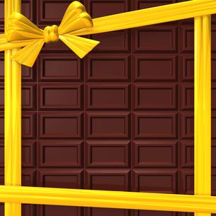 黄色いリボンと板チョコ 背景素材用の写真素材 [FYI00281950]
