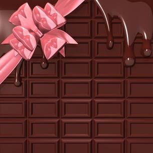 リボンのついた溶けた板チョコ 背景素材用の写真素材 [FYI00281951]