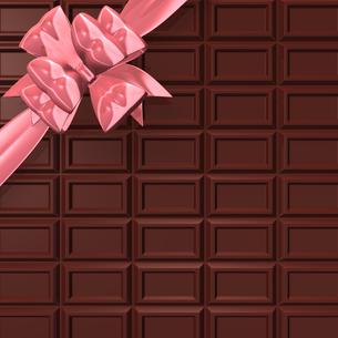 リボンのついた板チョコ 背景素材用の写真素材 [FYI00281952]