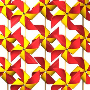 沢山の赤と黄色のかざぐるま背景素材用の素材 [FYI00281953]