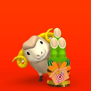 笑顔の羊と門松 赤い背景付きの写真素材 [FYI00281978]