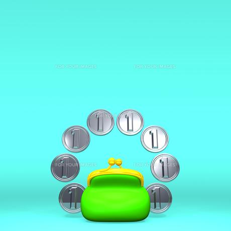 1円玉8枚とがま口 正面図 テキストスペース付の写真素材 [FYI00281980]