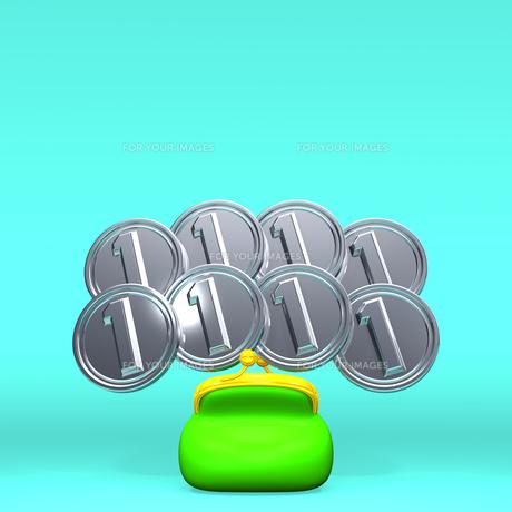 1円玉8枚とがま口 正面図 テキストスペース付の写真素材 [FYI00281986]