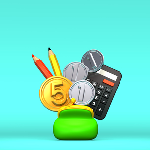 小銭と財布と文具 青いテキストスペース付の素材 [FYI00282001]