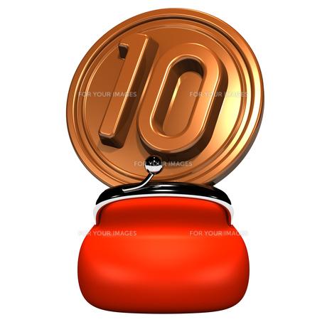 赤いがま口と大きな10円玉 正面図の写真素材 [FYI00282007]