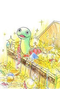 金運アップ宝箱蛇の写真素材 [FYI00282278]