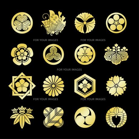 家紋セット1 黒地に金の写真素材 [FYI00282621]