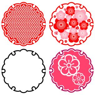 雪輪と梅のモチーフ 4種の写真素材 [FYI00282629]