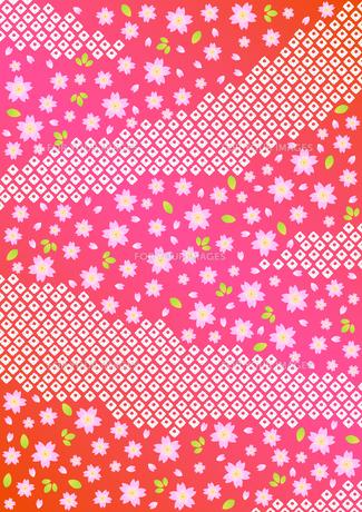 桜と鹿の子しぼりの背景模様の素材 [FYI00282663]