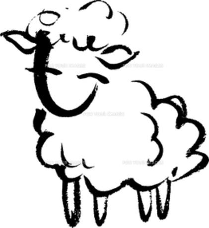 毛筆による羊のイラストの素材 [FYI00282877]
