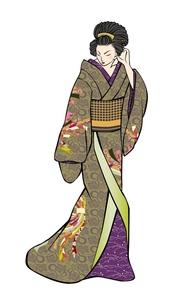 切り絵風着物の女性の写真素材 [FYI00283804]