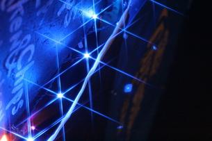 青のライトとメニューボードの写真素材 [FYI00283975]