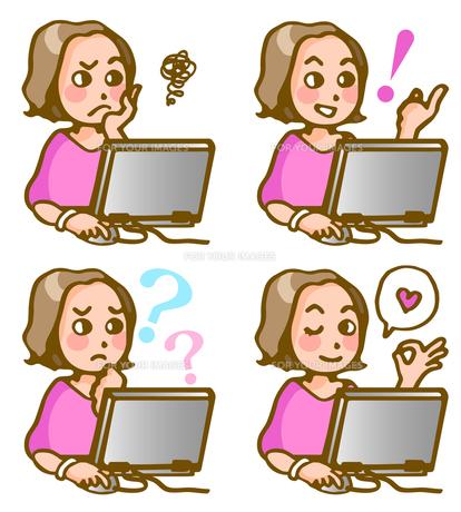パソコンに向かう女性の写真素材 [FYI00284729]