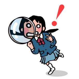 虫眼鏡と女子生徒の写真素材 [FYI00284781]