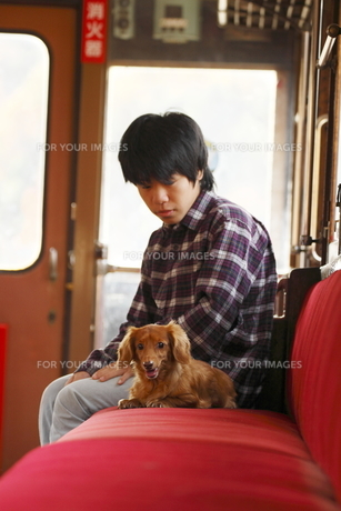 少年と犬の写真素材 [FYI00287931]