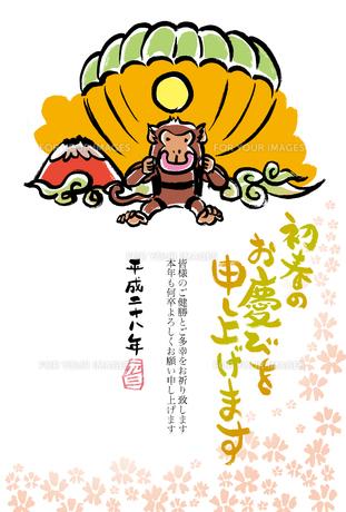 2016年賀状/さる/毛筆/パラグライダー/赤富士/初春のお慶びを申し上げますの写真素材 [FYI00289479]
