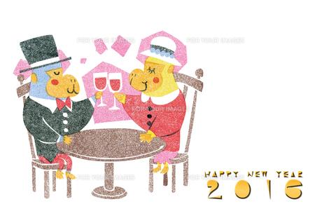 2016年賀状/さる/版画/乾杯/洋風/カップル/ワイン/HAPPYNEWYEARの写真素材 [FYI00289494]