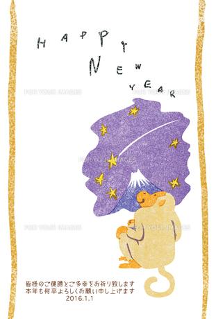 2016年賀状/さる/版画/富士山/流れ星/HAPPY NEW YEARの写真素材 [FYI00289495]