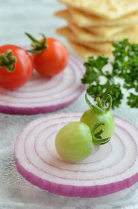 ミニトマトと紫タマネギとクラッカーの写真素材 [FYI00289802]