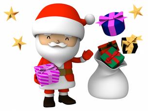 サンタクロース・立ちポーズ プレゼント袋付きの写真素材 [FYI00290015]