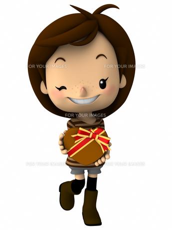 バレンタインデー チョコレートを持つ女の子の写真素材 [FYI00290026]
