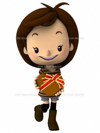 バレンタインデー チョコレートを持つ女の子の写真素材 [FYI00290031]